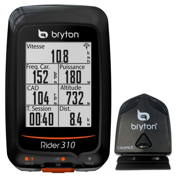 compteur v lo gps bryton rider 310 c cad. Black Bedroom Furniture Sets. Home Design Ideas