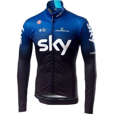 maillot v lo manches longues castelli thermal team sky 2019. Black Bedroom Furniture Sets. Home Design Ideas